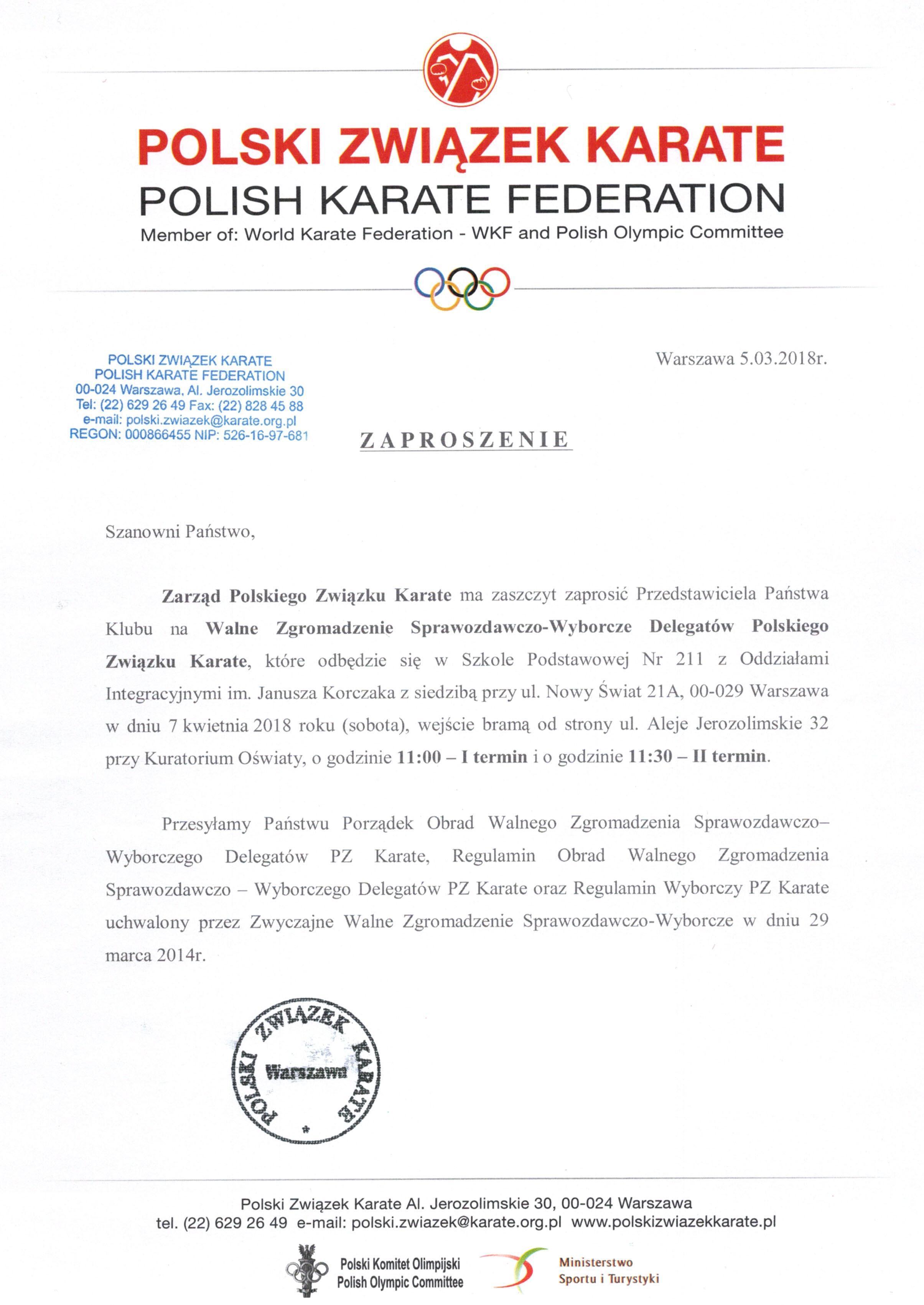 Polski Związek Karate Kiona Archiwum Zaproszenie Na Walne